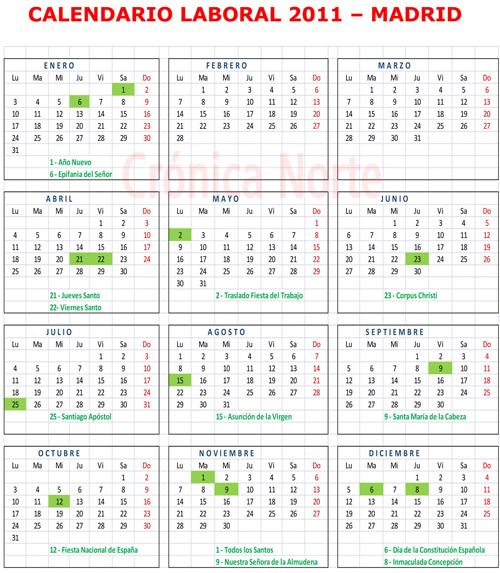Calendario 2011 Espana.El Calendario Laboral De 2011 En Madrid Incluye 14 Dias Festivos