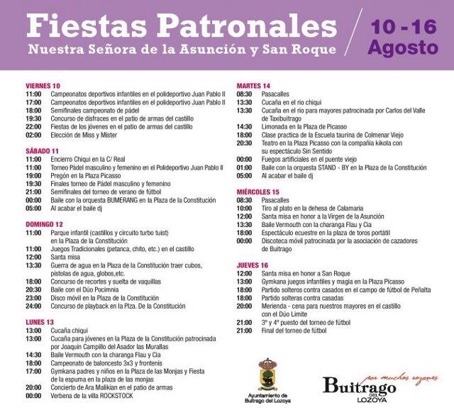 Programaci n de las fiestas de buitrago de lozoya for Piscina de buitrago de lozoya 2017