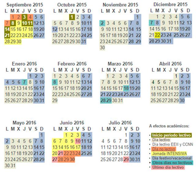 Calendario Escolar Madrid.Calendario Escolar De La Comunidad De Madrid 2015 2016