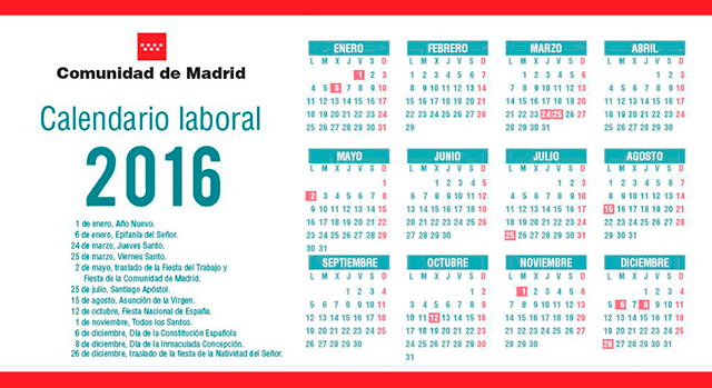 Calendario Laboral Comunidad De Madrid.Calendario Laboral 2016 De La Comunidad De Madrid